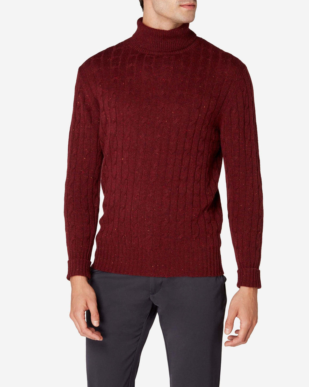 Cable Roll Neck Cashmere Jumper Burgundy Red