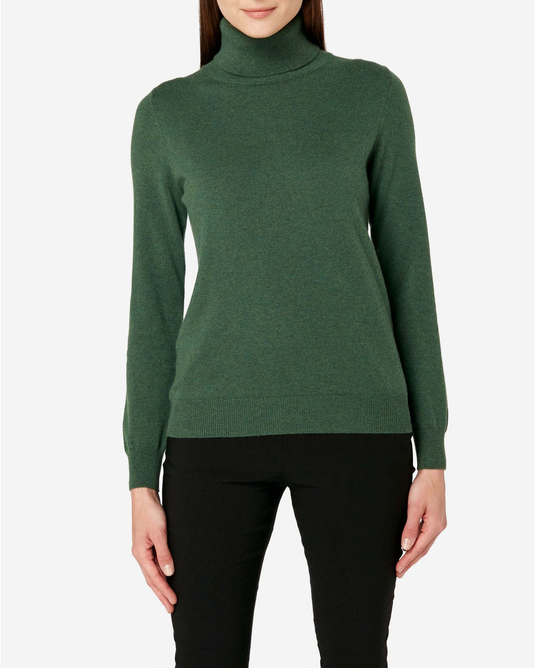 Polo Neck Cashmere Jumper Moss Green