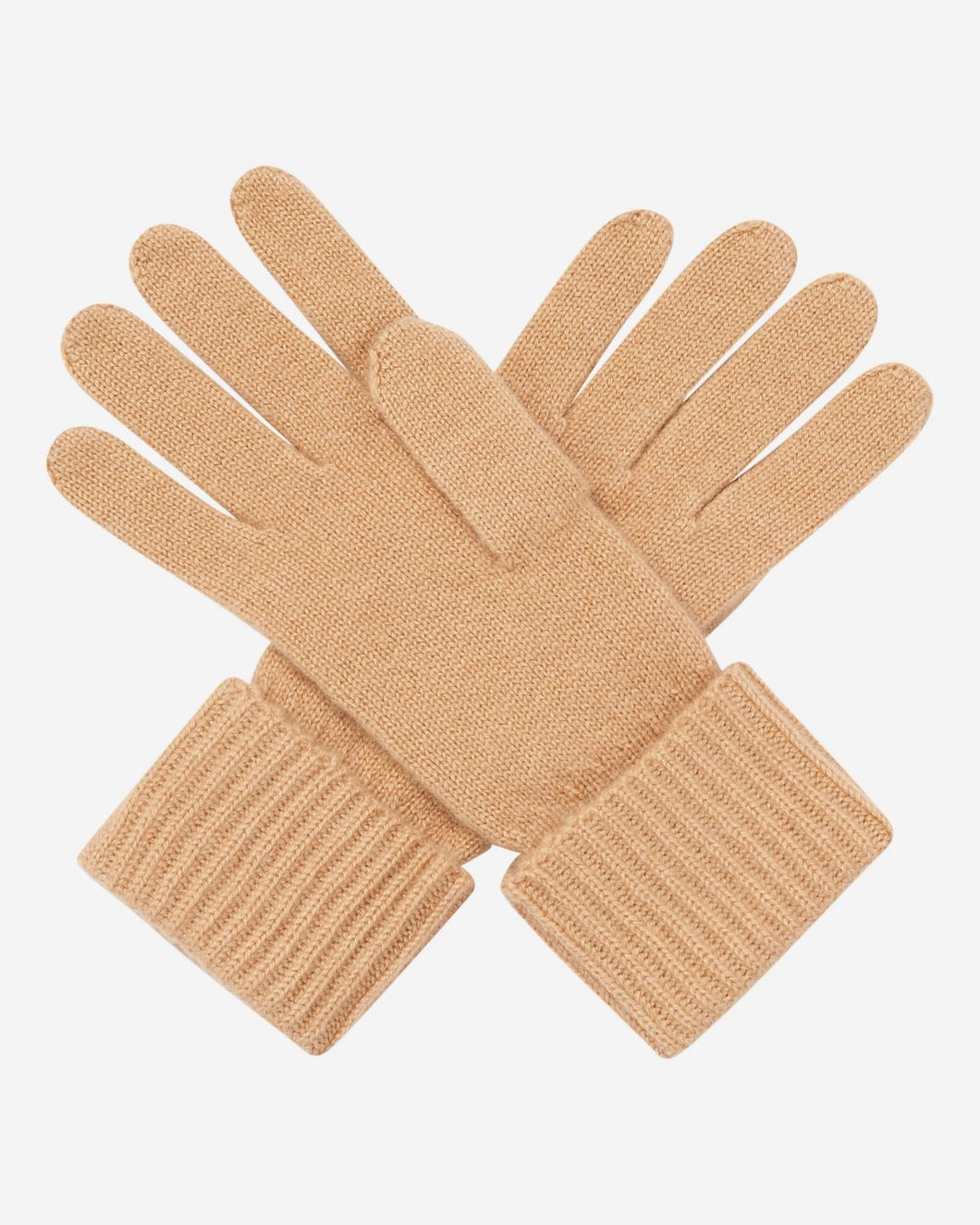 Ribbed Cashmere Glove Camel Brown