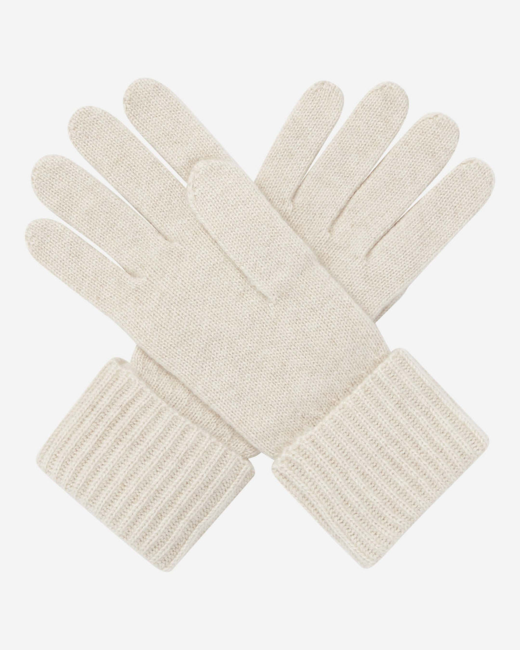 Ribbed Cashmere Glove Ecru White