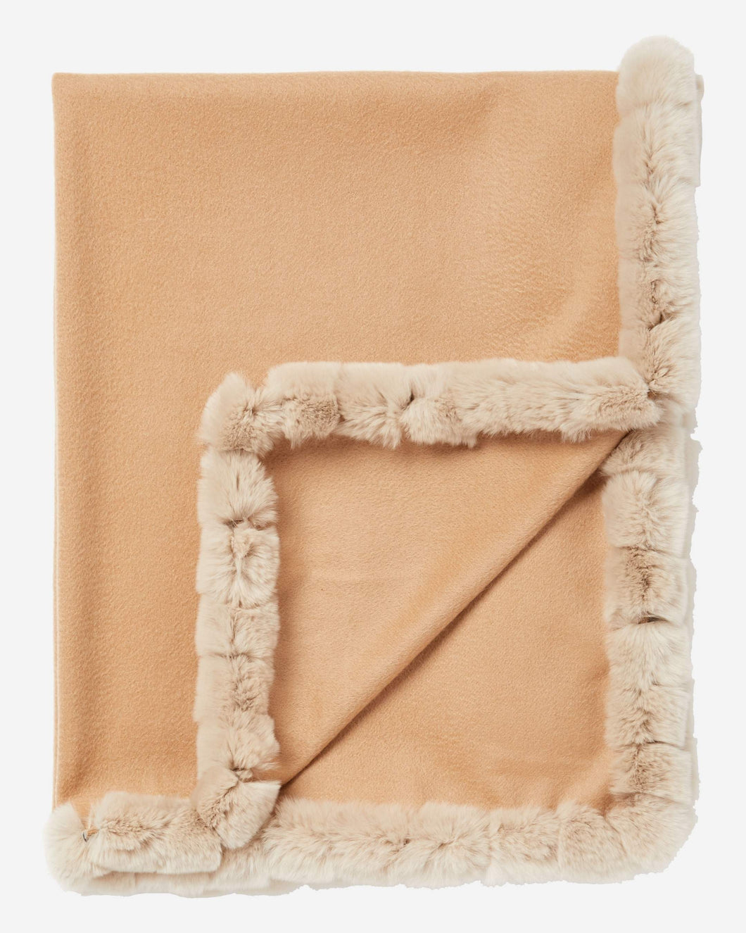 Fur Trim Woven Cashmere Shawl Camel Brown + Sand Brown