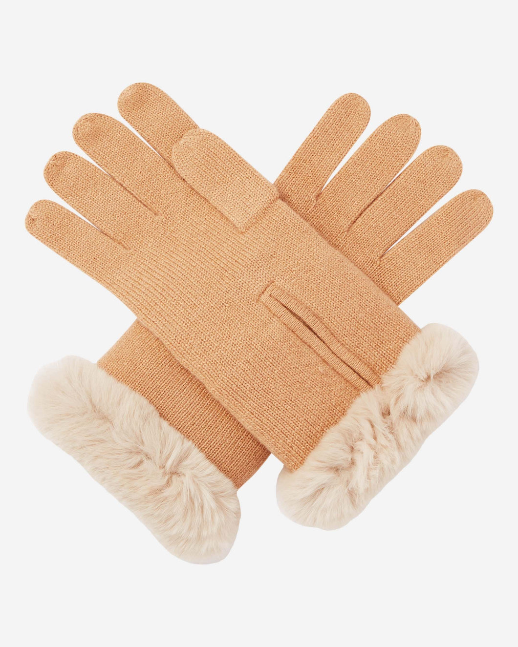 Fur And Cashmere Gloves Camel Brown + Sand Brown