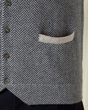 Load image into Gallery viewer, Herringbone Cashmere Waistcoat Fumo Grey + Lava Blue