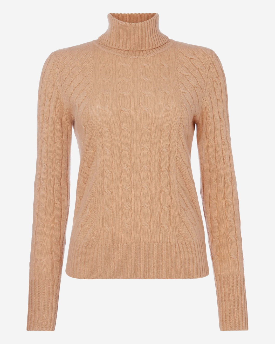 Cable Roll Neck Cashmere Sweater Camel Brown