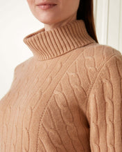 Load image into Gallery viewer, Cable Roll Neck Cashmere Sweater Camel Brown