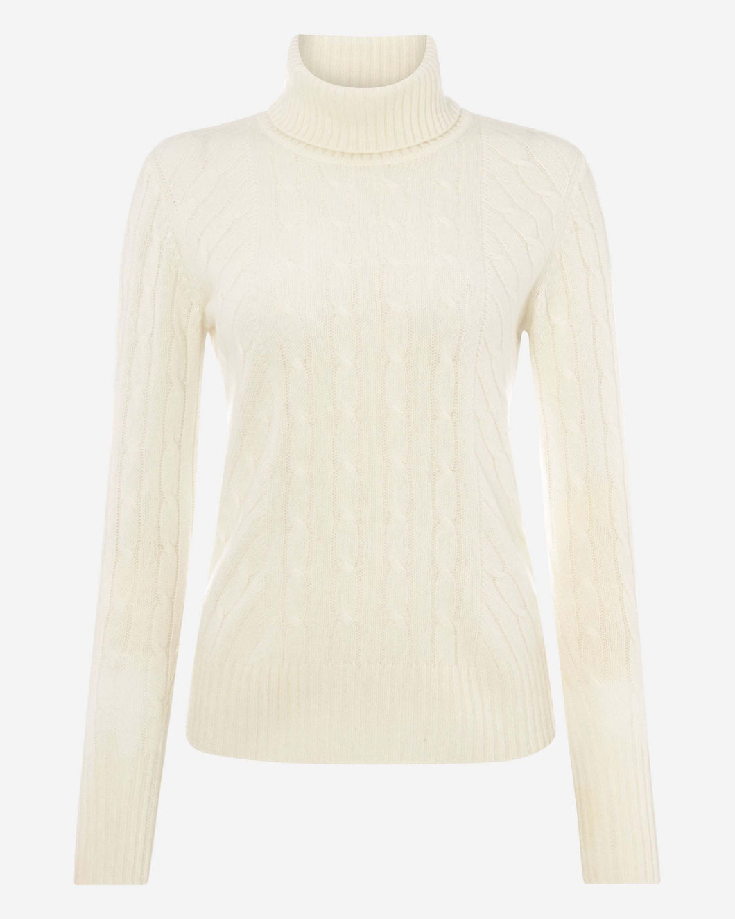 Cable Roll Neck Cashmere Sweater New Ivory White