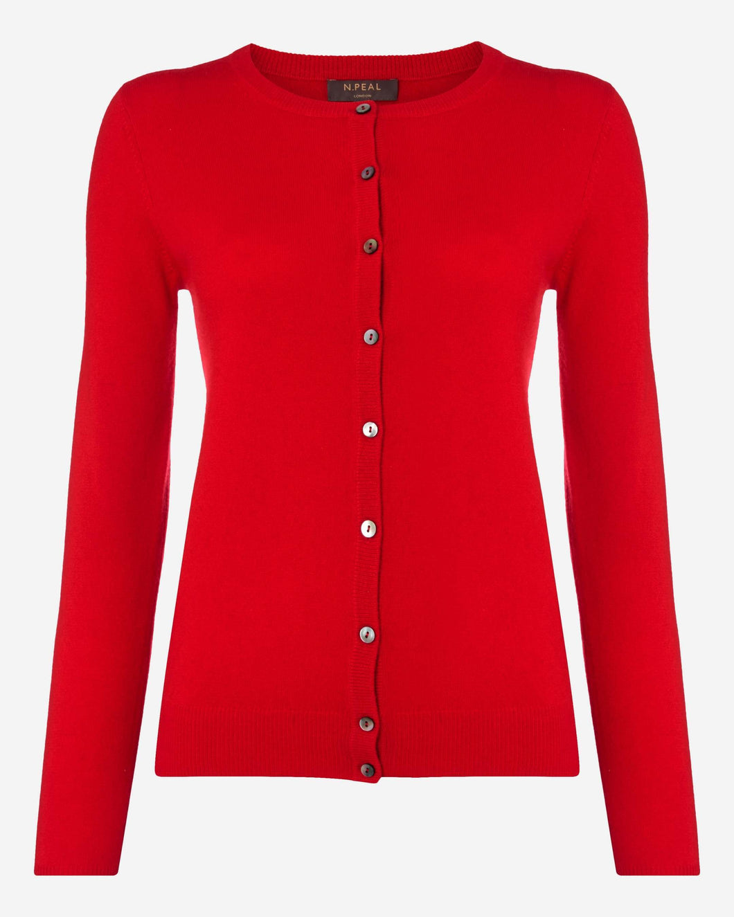 Round Neck Cashmere Cardigan Red