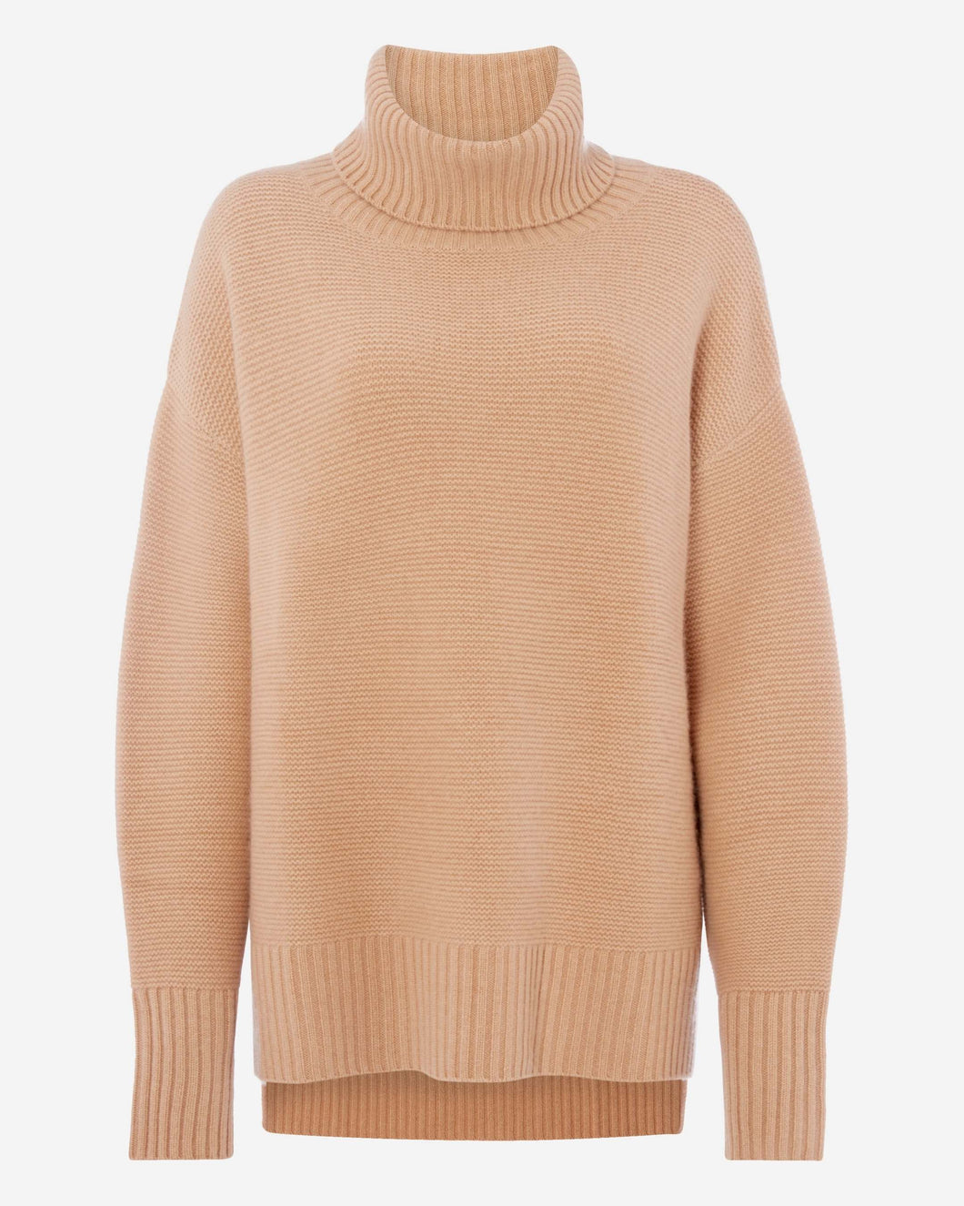 Chunky Roll Neck Cashmere Jumper Camel Brown