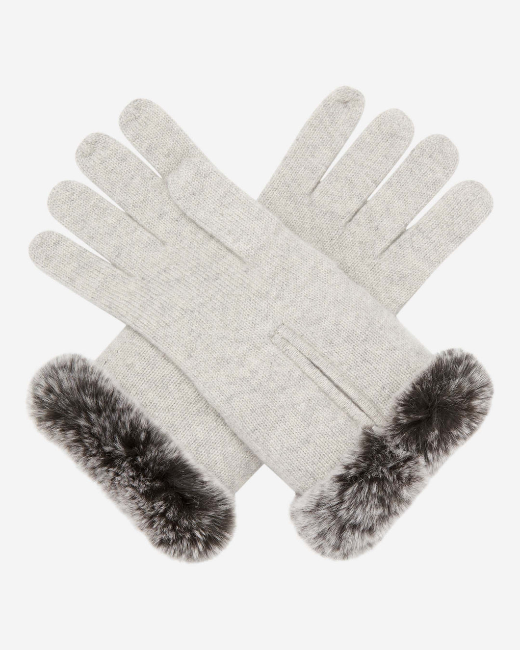 Fur And Cashmere Gloves Fumo Grey + Charcoal Grey Tipped Fur