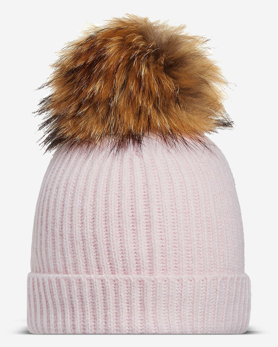 Ribbed Cashmere Hat With Detachable Pom Dusty Pink