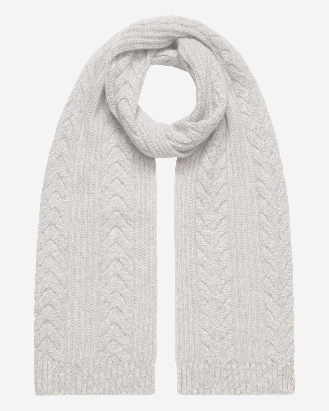 Wide Cable Cashmere Scarf Fumo Grey