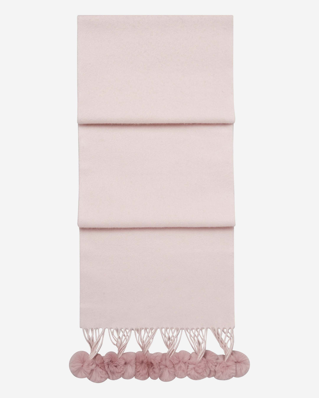 Fur Bobble Woven Cashmere Scarf Dusty Pink + Pink