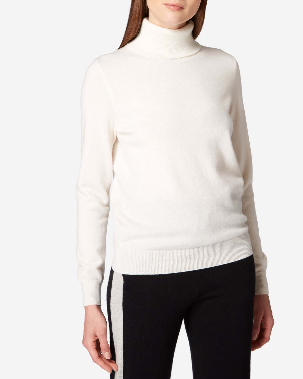 Polo Neck Cashmere Jumper White Lux