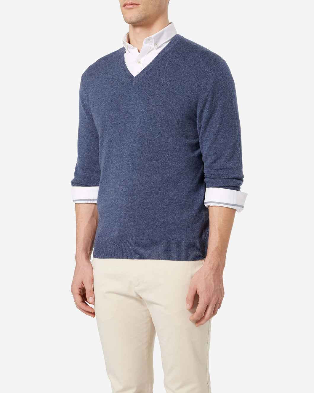 The Burlington V Neck 1ply Cashmere Sweater Selvedge Blue