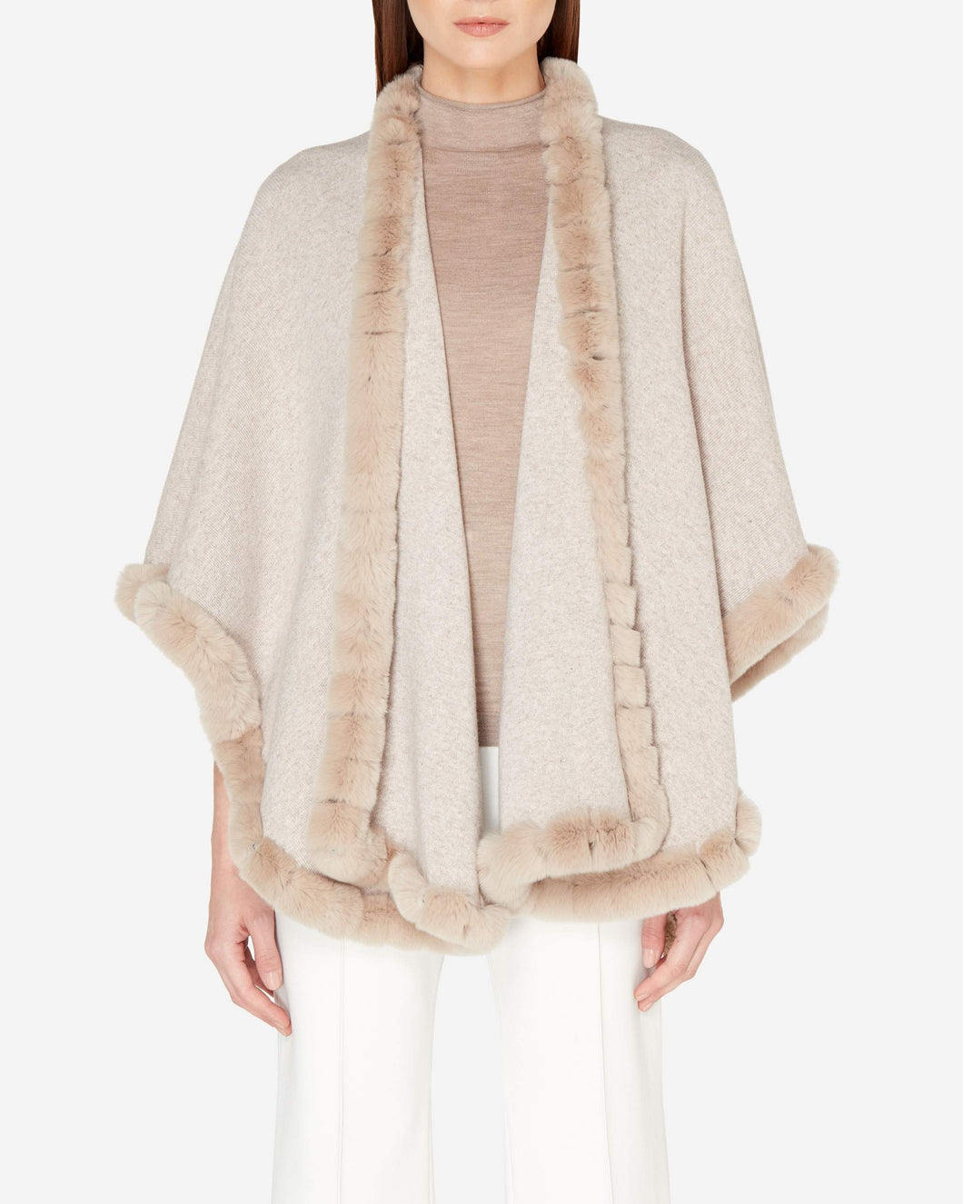 Cashmere Cape with Fur Trim Edge Sand Brown + Sand Brown Fur