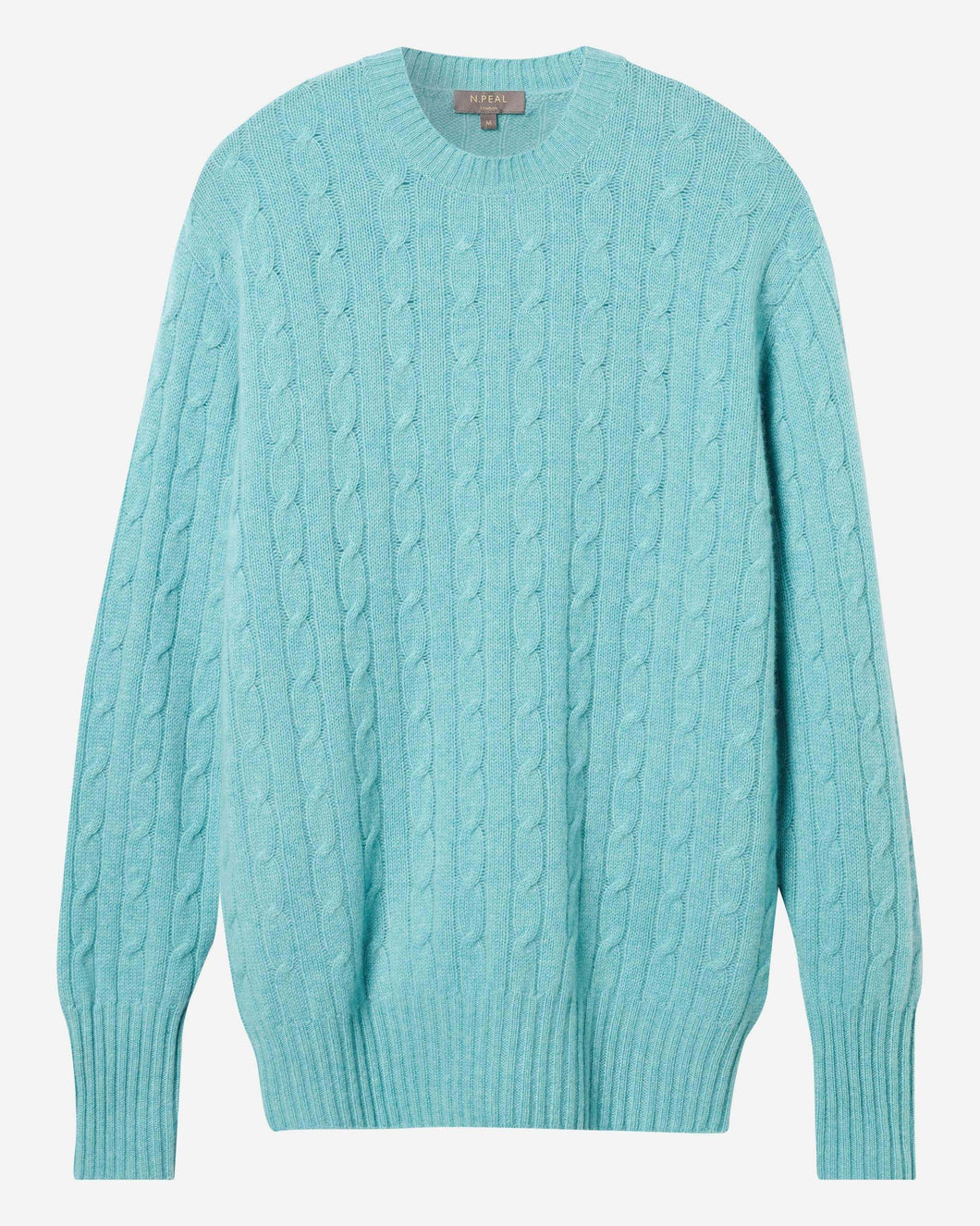 The Thames Cable Round Neck Cashmere Jumper Aqua Green