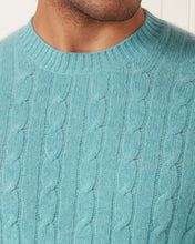 Load image into Gallery viewer, The Thames Cable Round Neck Cashmere Jumper Aqua Green