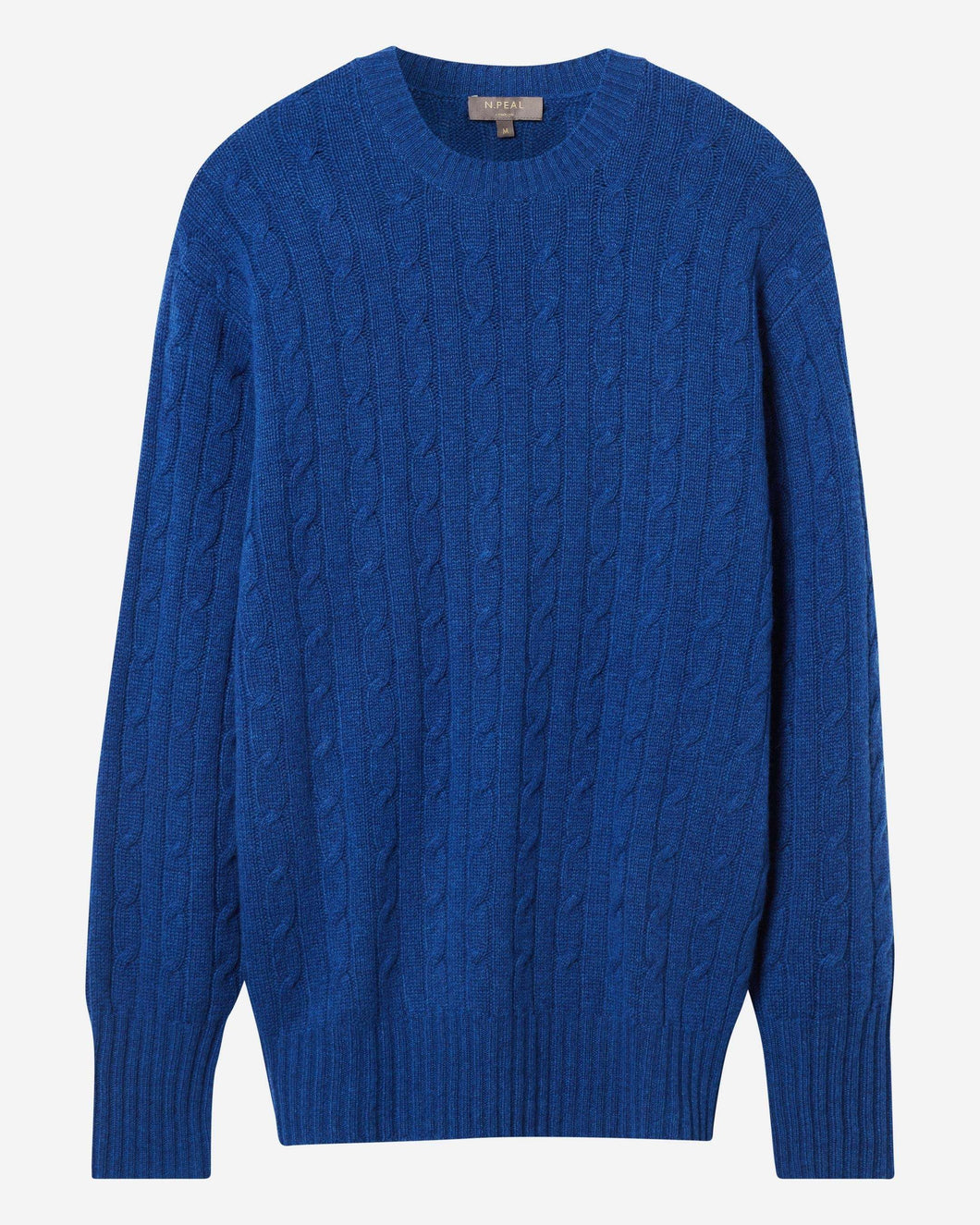 The Thames Cable Round Neck Cashmere Jumper Midnight Blue