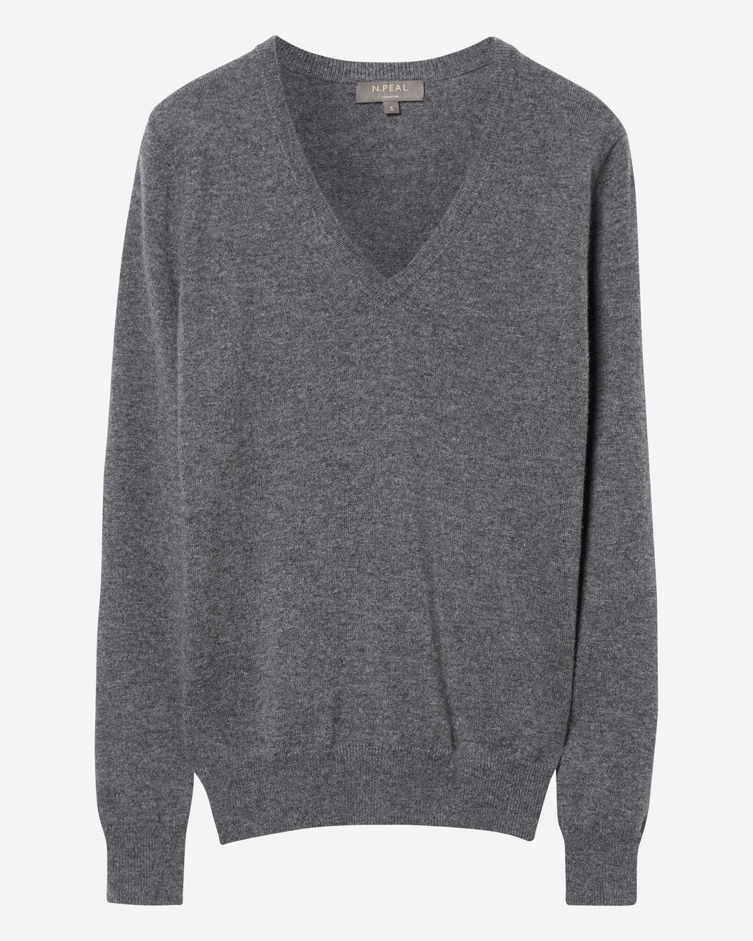 V Neck Cashmere Jumper Elephant Grey