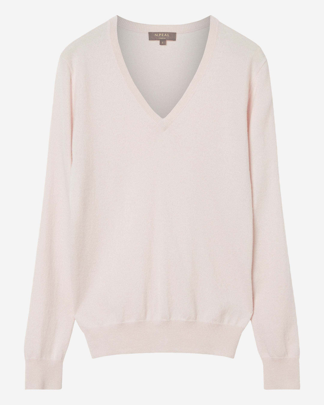 V Neck Cashmere Jumper Powder Pink