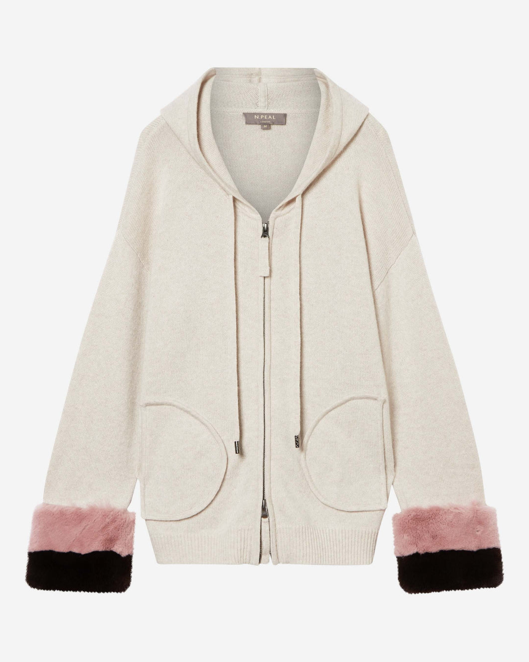 Hooded Fur Cuff Cardigan Ecru White + Pink/Brown