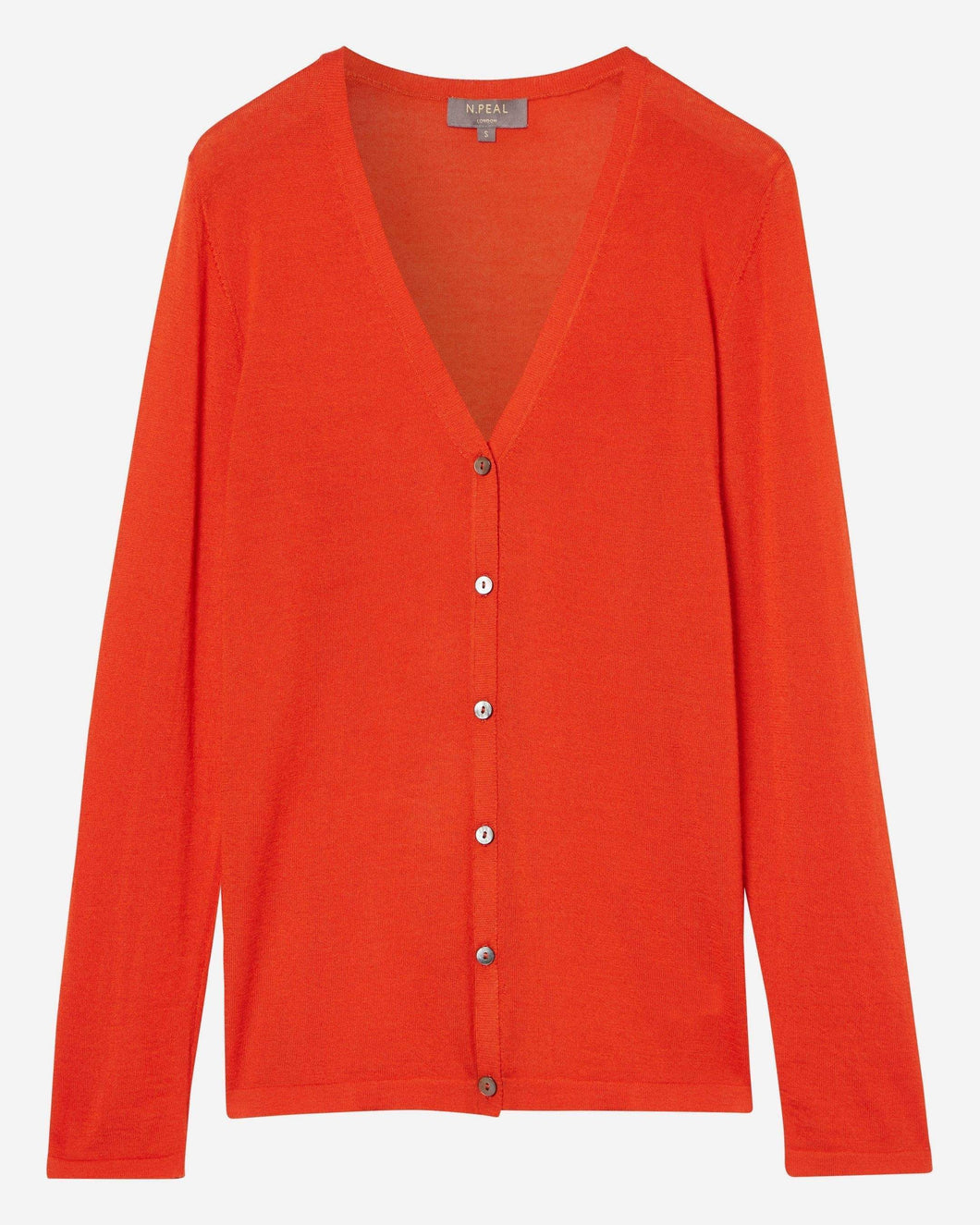 Superfine V Neck Cashmere Cardigan Burnt Orange