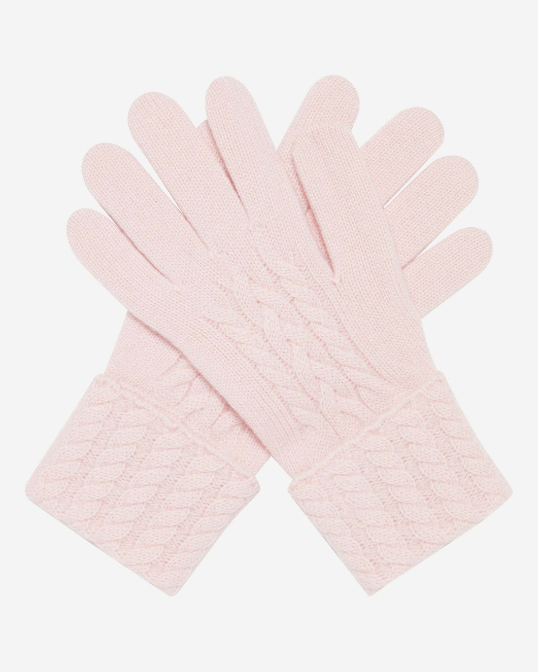 Cable Cashmere Gloves Pale Pink