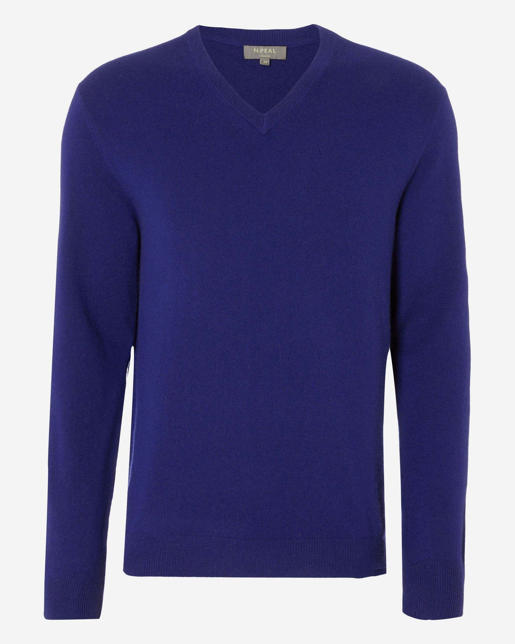 The Burlington V Neck 1ply Cashmere Sweater Royal Blue