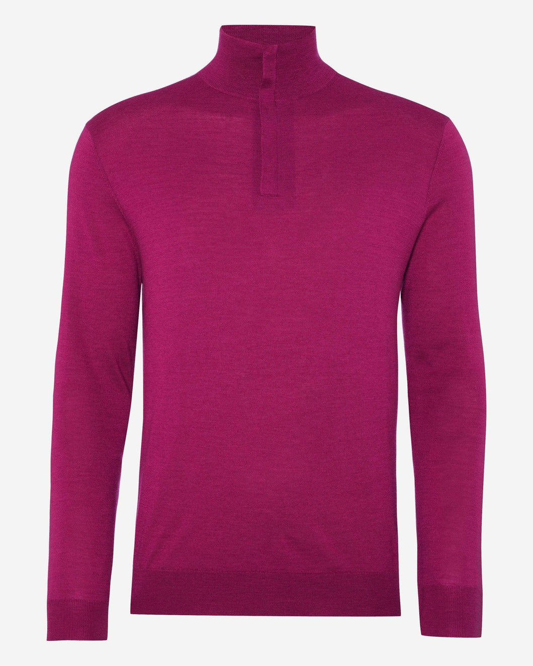 The Regent Fine Gauge Half Zip Sweater Cerise Pink