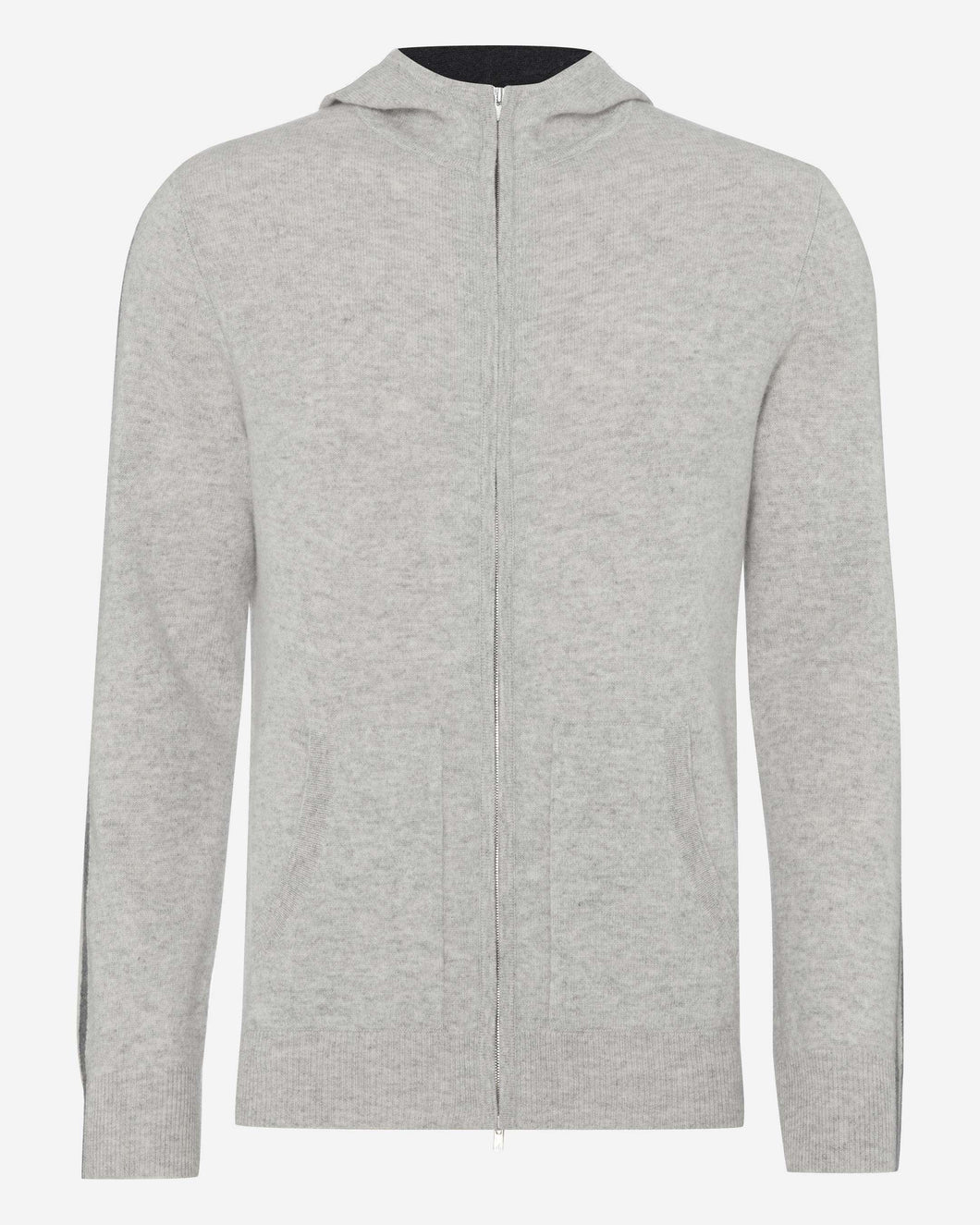 Stripe Detail Cashmere Hoodie Fumo Grey + Ecru White + Dark Charcoal Grey