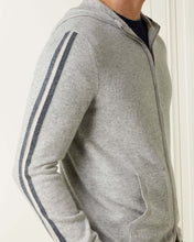 Load image into Gallery viewer, Stripe Detail Cashmere Hoodie Fumo Grey + Ecru White + Dark Charcoal Grey