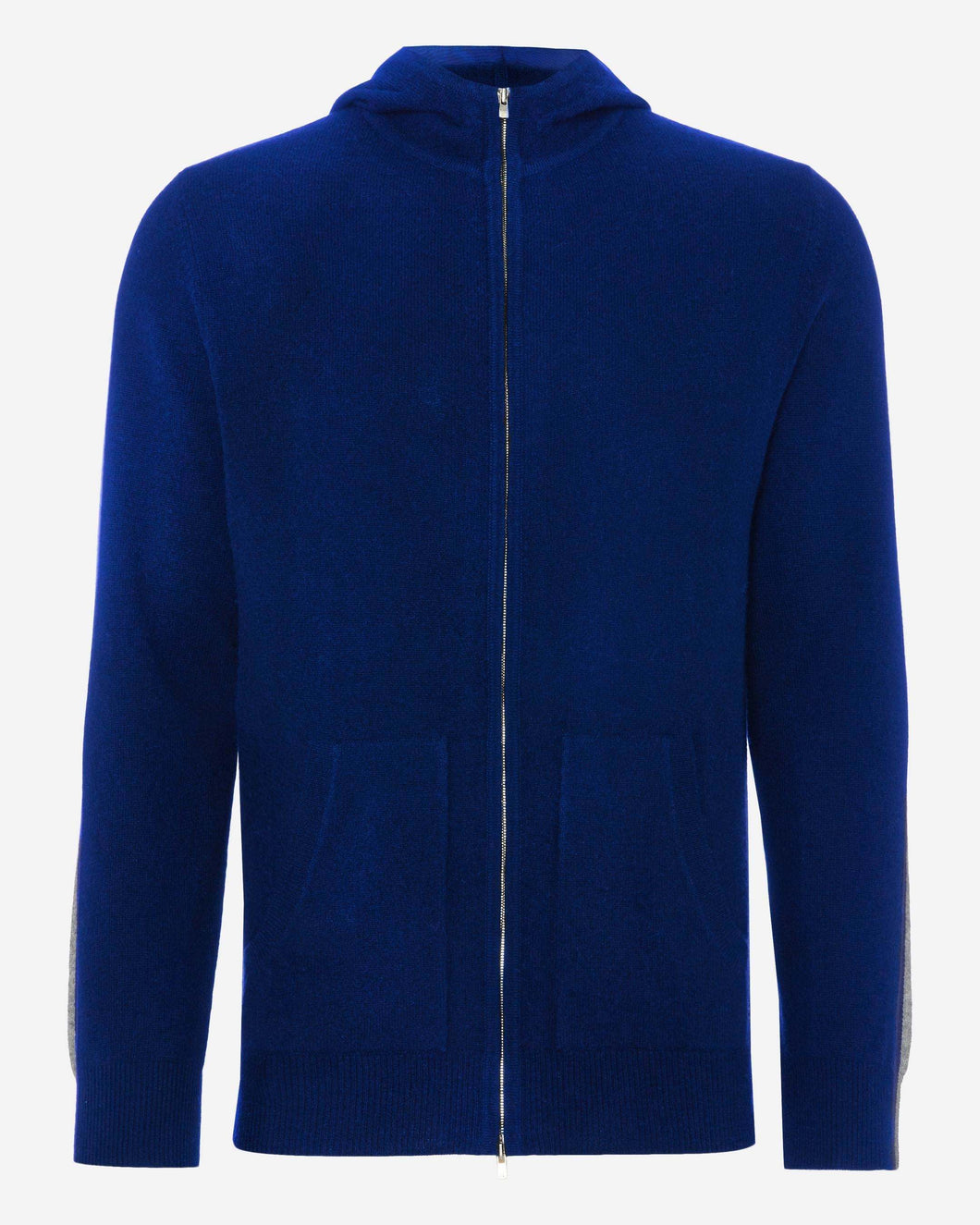 Stripe Detail Cashmere Hoodie Royal Blue + Flannel Grey + Navy Blue