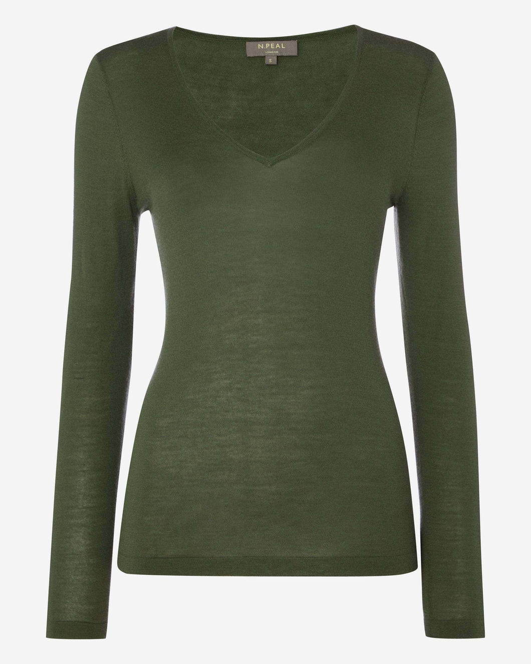 Superfine V Neck Cashmere Sweater Dark Olive Green