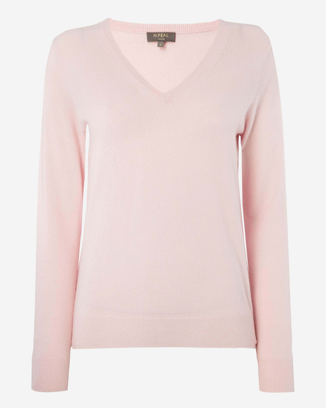 V Neck Cashmere Sweater Pale Pink