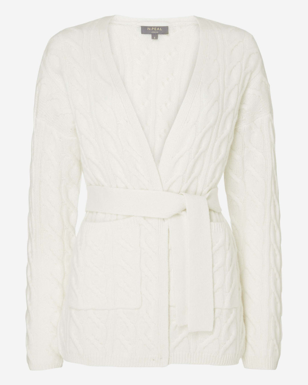 Cable Tie Belted Cashmere Cardigan New Ivory White