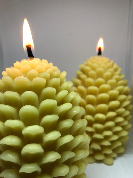 Bees Wax Candle Pine Cone - Pine Cone Shape - Decorative Candle- - Hikari Candles