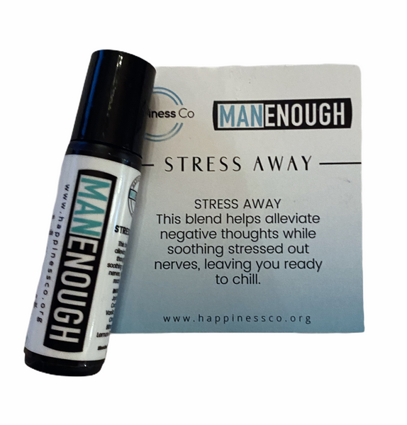 Man Enough Happiness Co Stress  Away Essential Oil Mens Range 10ml - Hikari Candles