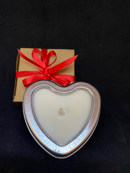 Tin Candle Heart Shape - with Pure Essential Oils - Hikari Candles