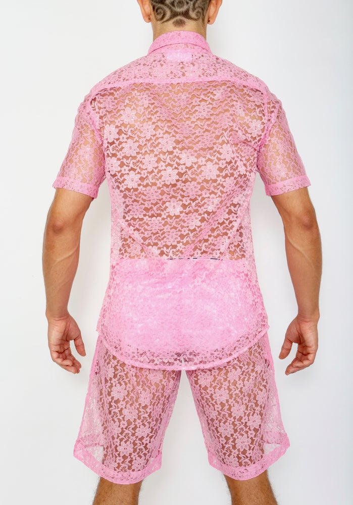 LACE ME UP SHIRT-PINK
