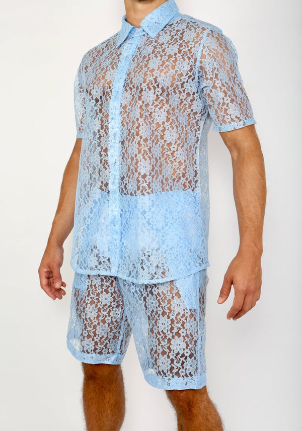 LACE ME UP SHIRT-BLUE