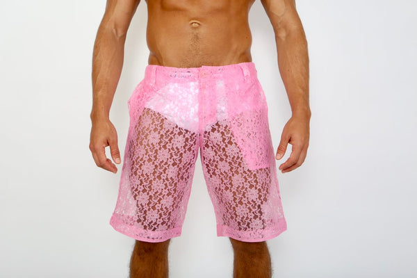 LACE ME UP SHORTS-PINK