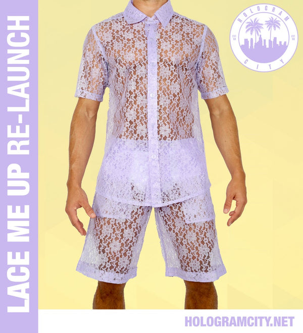 LACE ME UP SHIRT-PURPLE