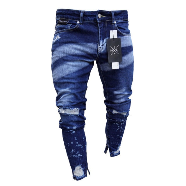 2020 Brand New Style Stylish Men's Ripped Skinny Jeans Destroyed Frayed Slim Fit Denim Pants Trousers