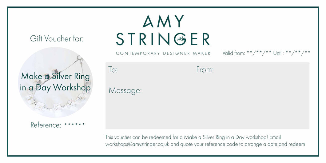 Make a Silver Ring in a Day - Gift Voucher