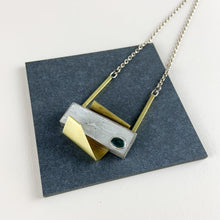 Load image into Gallery viewer, One off silver, brass, cement & Moss Agate necklace