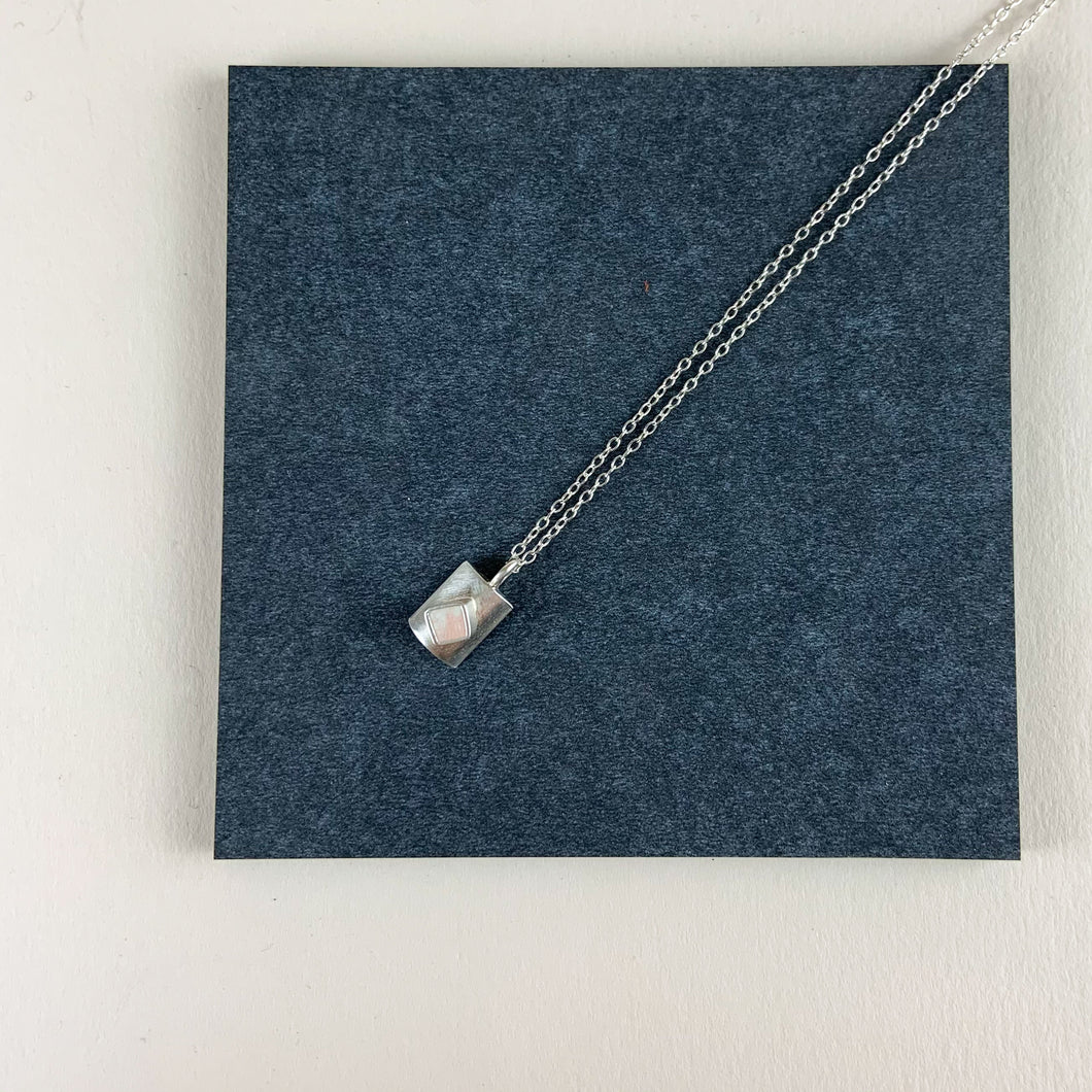 Delicate silver and cube pendant