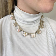Load image into Gallery viewer, Eleven cube silver and cement statement necklace