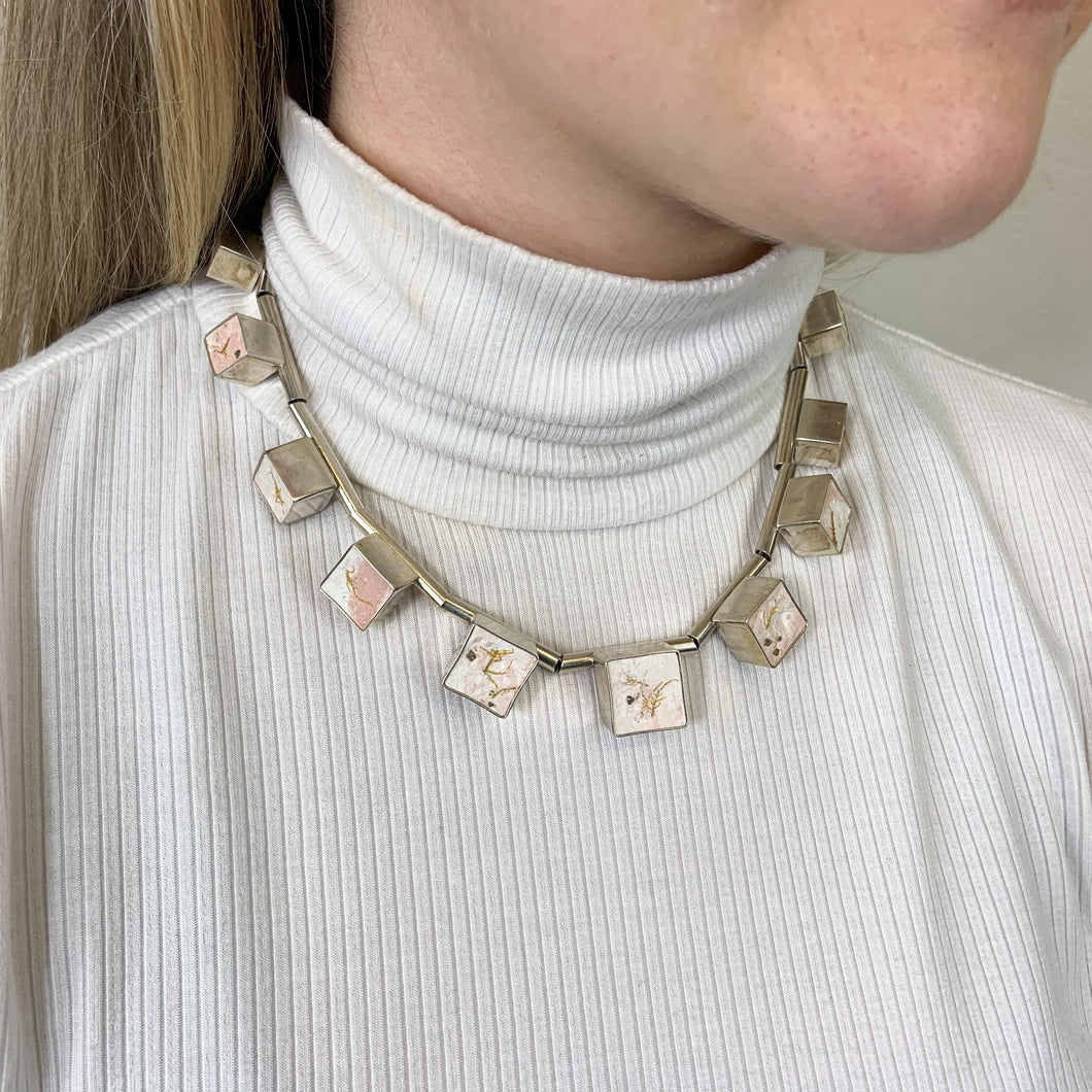 Eleven cube silver and cement statement necklace