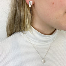 Load image into Gallery viewer, Delicate silver and cube pendant