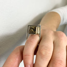 Load image into Gallery viewer, Resin coated moss scroll ring